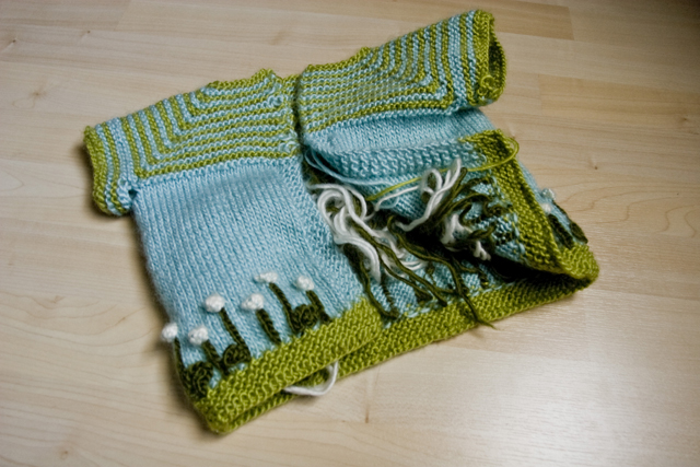 Cloverfield Cardigan tails and seams