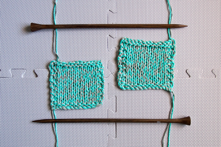 Same needles, different styles. Left: Continental. Right: English.