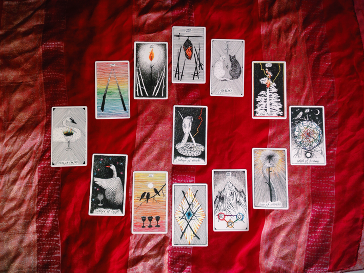 Beginning with the eight of swords and moving clockwise, these cards represent the months ahead, with the center card as the overall year.